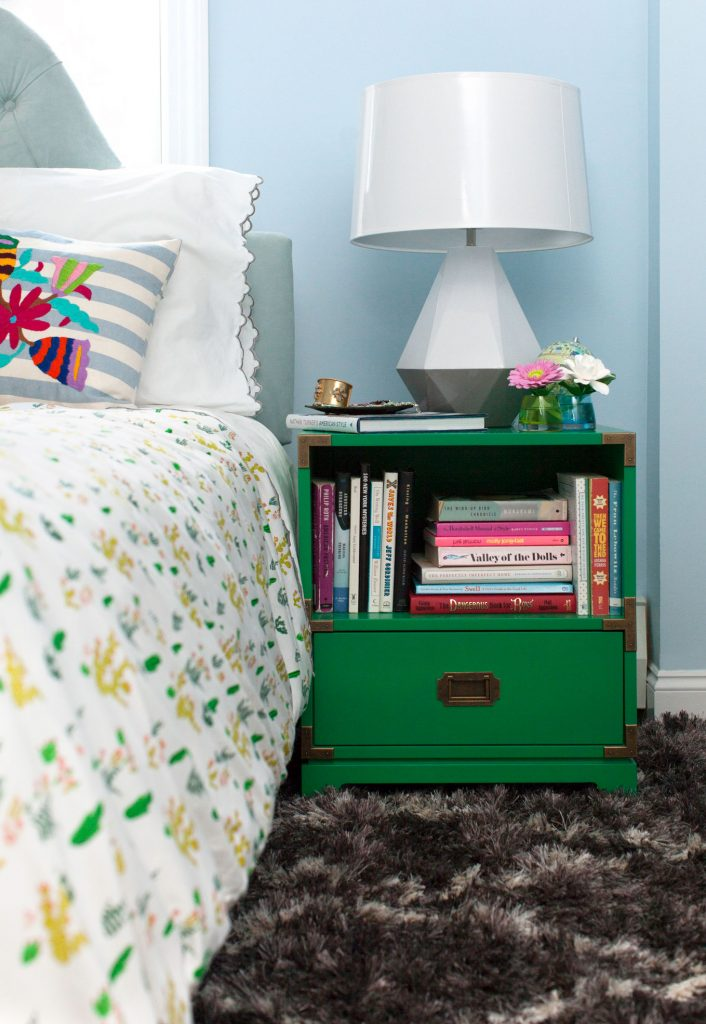 Delta Duo Lamp by Robert Abbey and green painted bedside table, via ELle decor