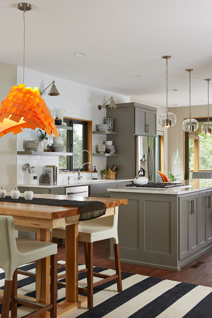 transitional-kitchen gray and orange kitchen