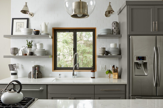 transitional-kitchen in gray
