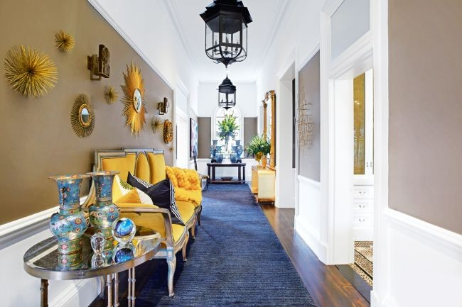 Yellow, Gold, White and Brown Entry Hall