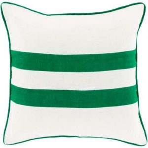 white and kelly green throw pillow