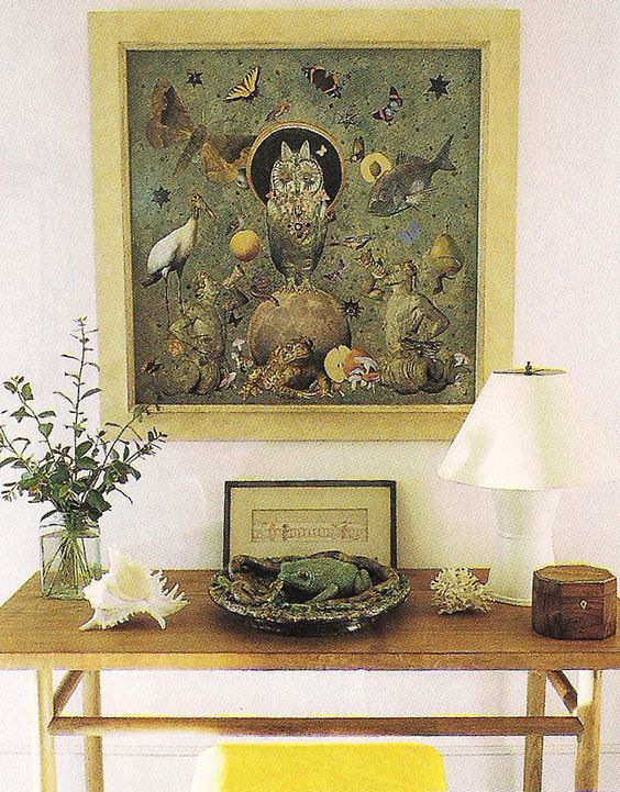 Albert Hadley ~ A collage by the great, late interior designer Albert Hadley, in his Naples, Florida, home.