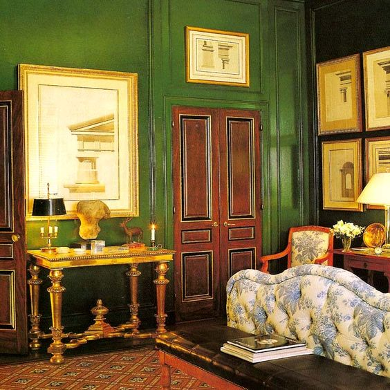 Bedroom designed by the design legend Albert Hadley and the late designer Gary Hager for Vincent Friia in San Francisco. Blue and white toile draperies and upholstered bed with glazed emerald green walls.