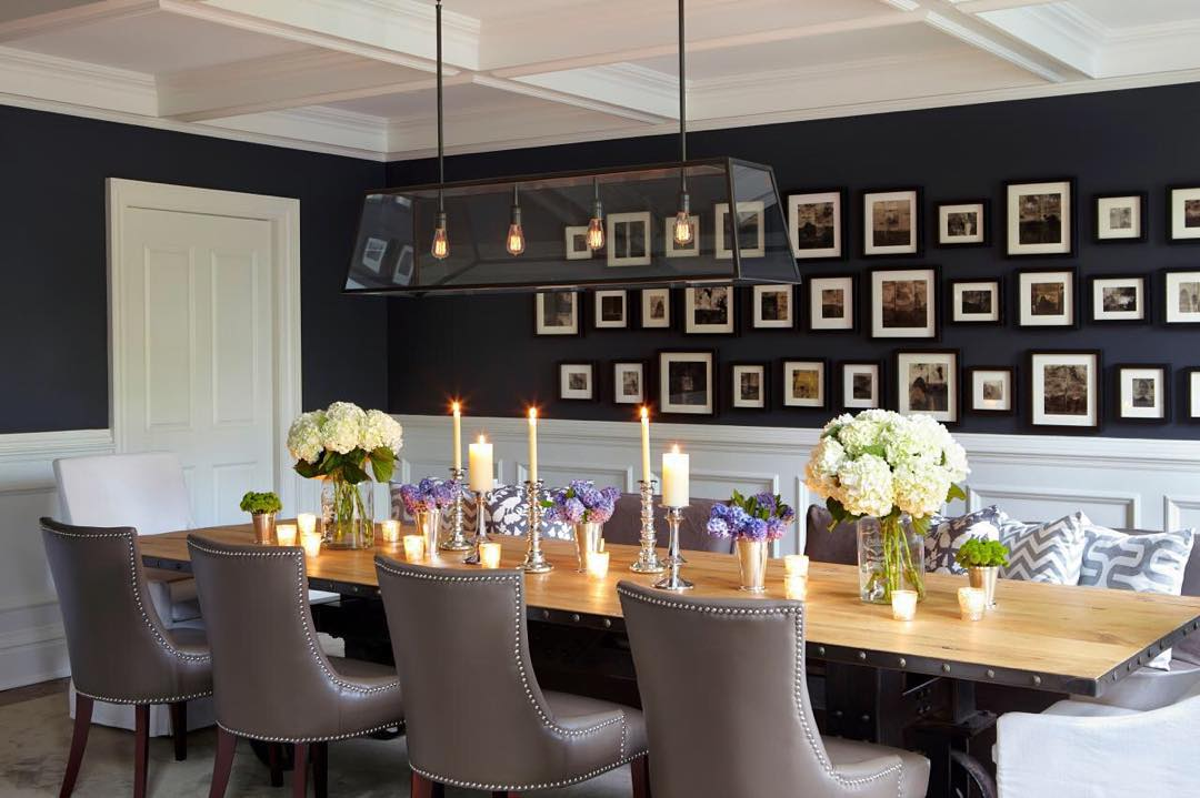 Benjamin Moore Deep Royal neoclassical dining room