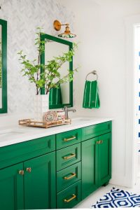 Kelly Green and blue traditional bathroom design idea