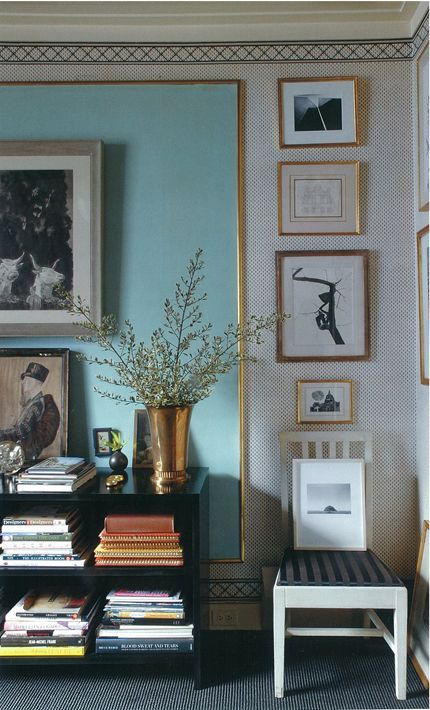 "Adore this blue color accented with gold and ""framed"" in the black and white mini-print wallpaper. Simply stunning and stunningly simple-by the legendary Albert Hadley"