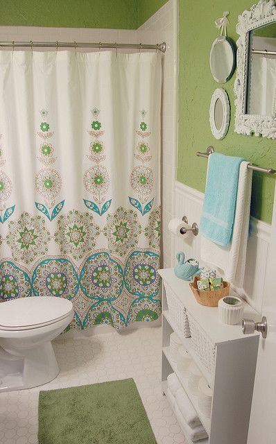 blue green white bathroom