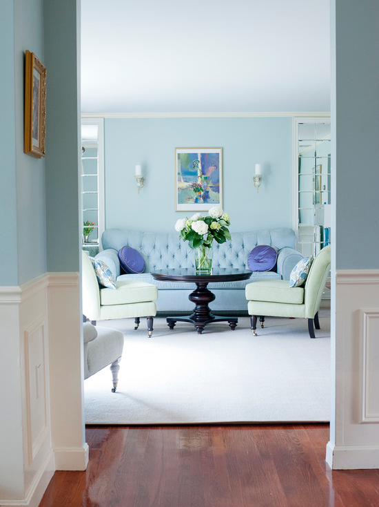 Benjamin Moore's Palladian Blue Paint living room