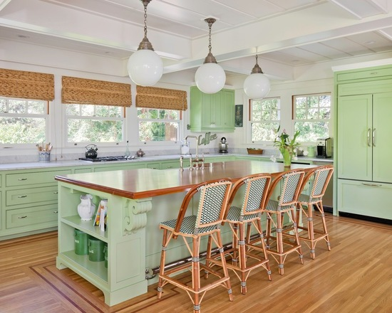 Green kitchen cabinets painted in Sherwin Williams Green Twill by Bay West Builders