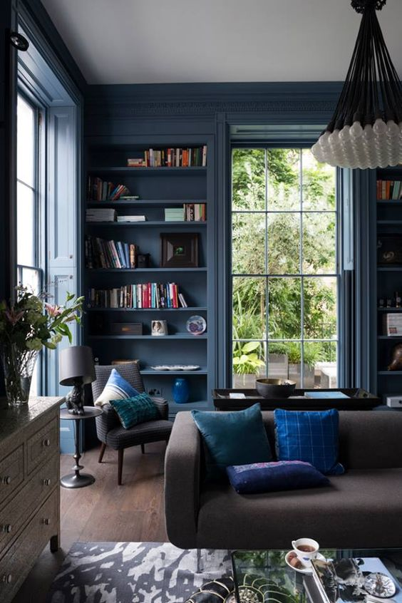 Blue Color Decoration Ideas For Living Room: 9 Interior Decor Living Rooms In Moody Blue