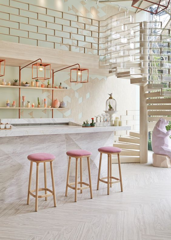 cafe in pink and neutrals