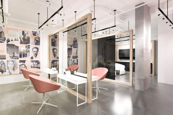 hair salon interior in pink and gray