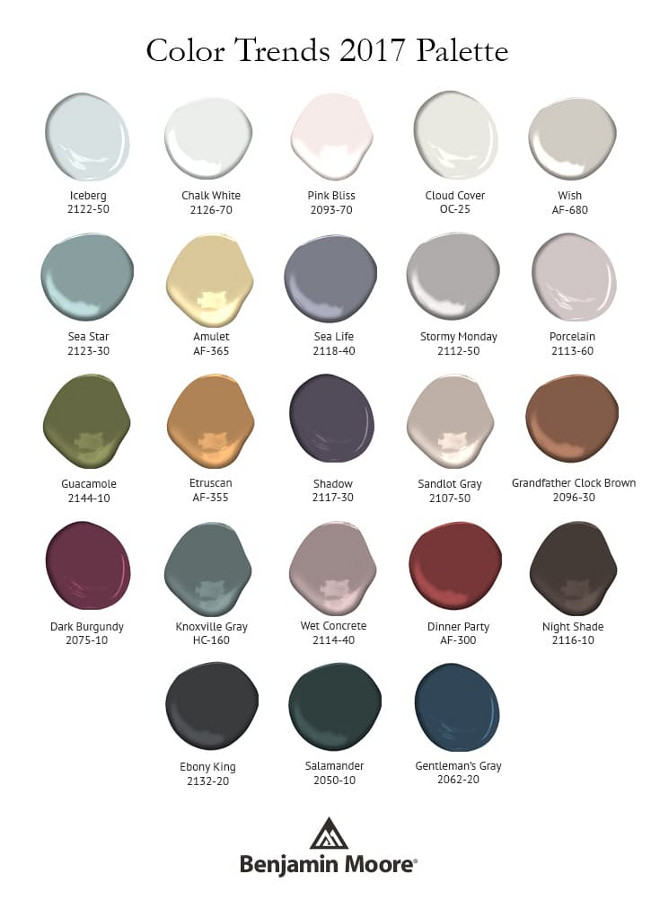 Benjamin Moore 2017 Color Palettes
