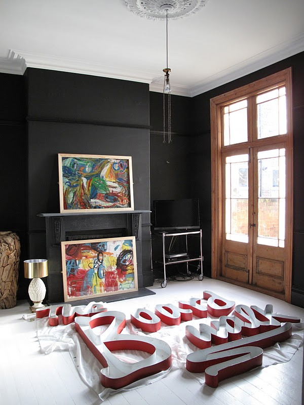 Farrow and Ball Pitch Black living room