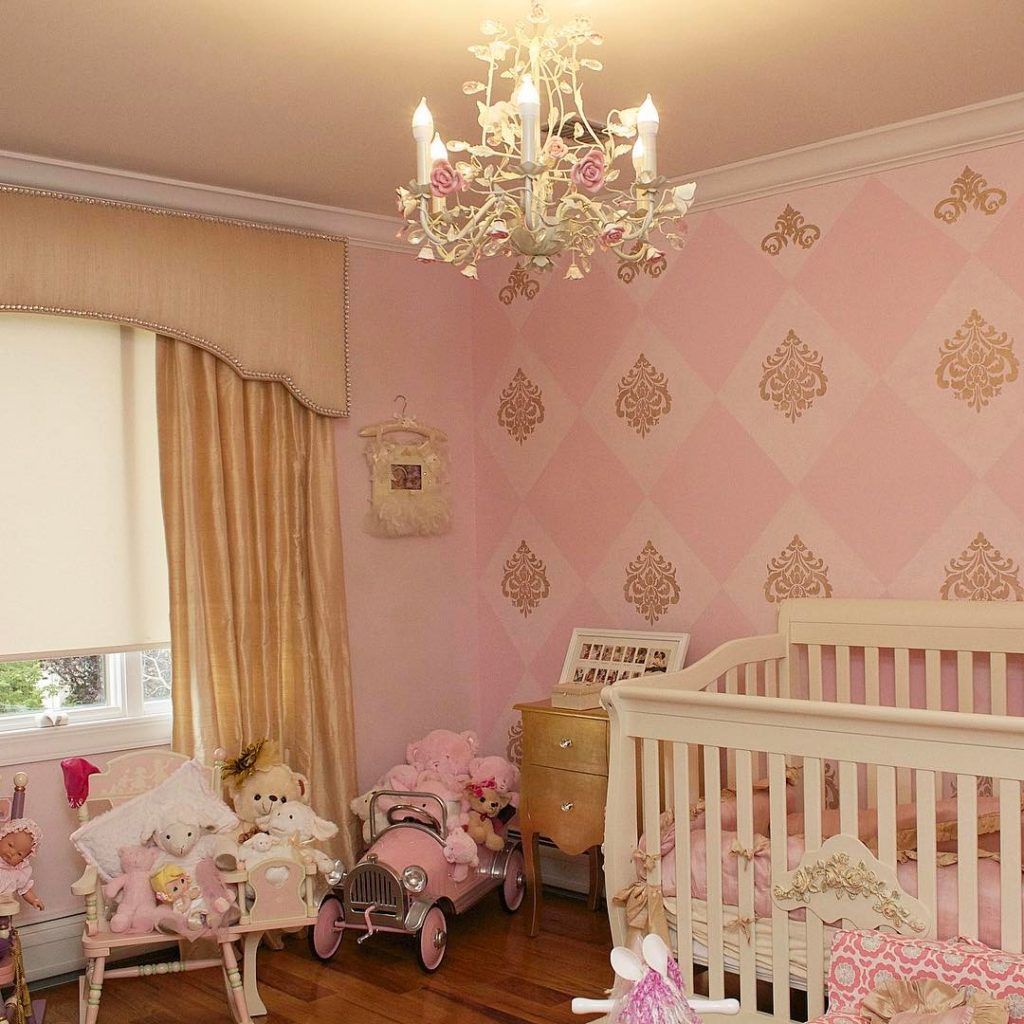 gold and pink vintage nursery interior design ideas
