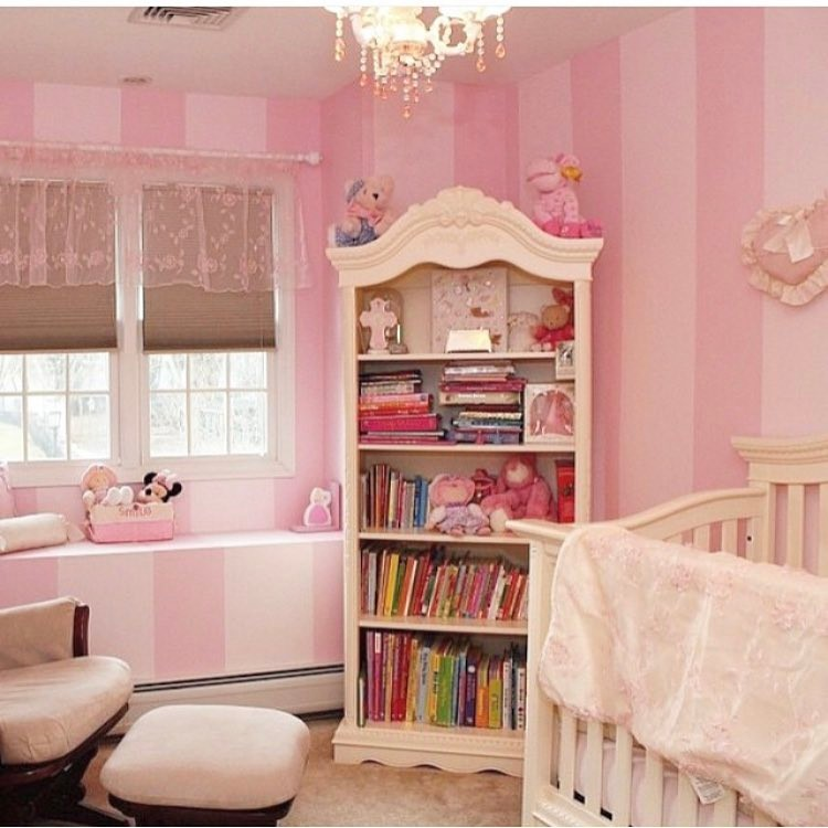 pink pinstripe nursery interior design ideas