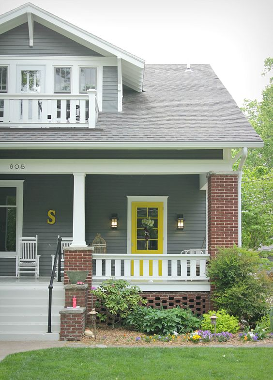 Yellow and gray design with paint for the exterior of your - What color door goes with gray house ...
