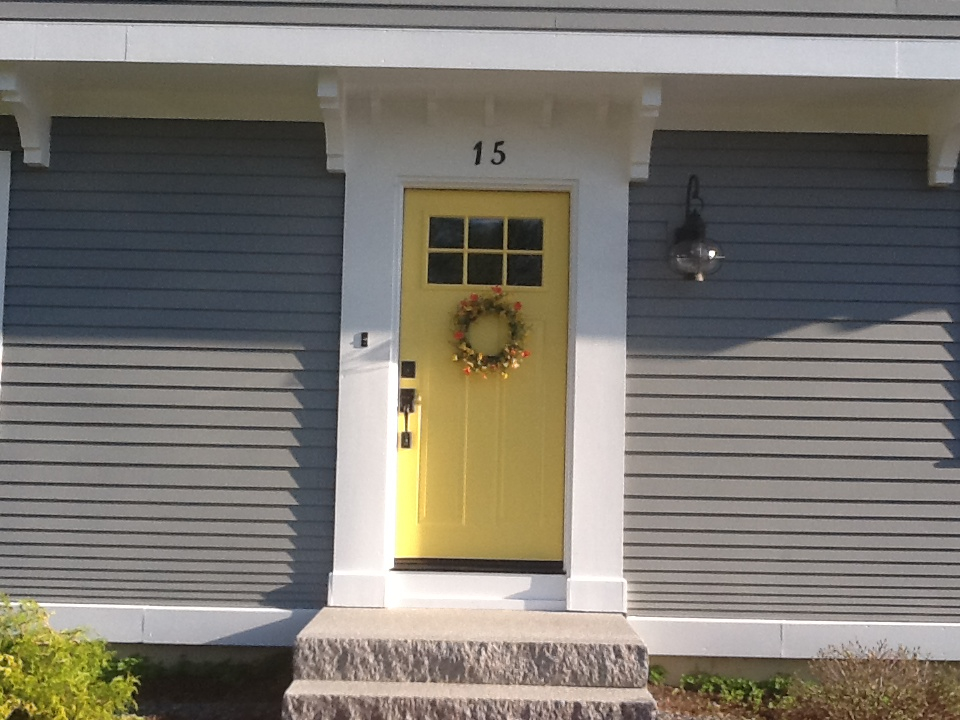 Yellow and gray design with paint for the exterior of your for Front door yellow paint