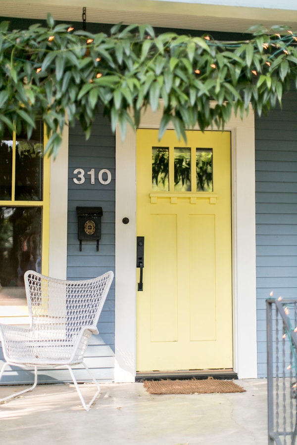 Front Door On Gray House White Trim