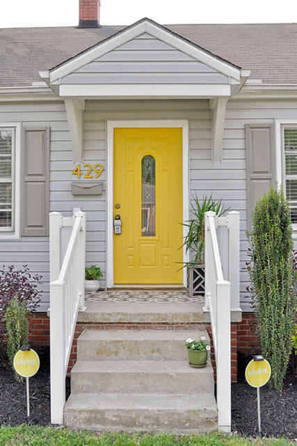Yellow and gray design with paint for the exterior of your - Gray house yellow door ...