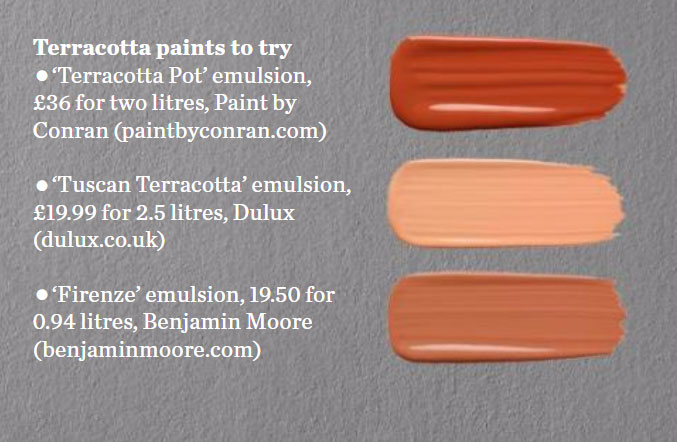 Orange interiors by color 52 interior decorating ideas for Paint colors that go with terracotta
