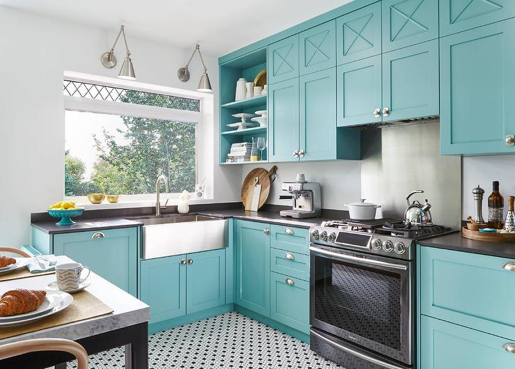 Blue Kitchen Cabinets Stainless Steel Appliances