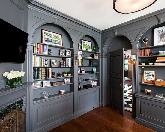 Benjamin Moore Kendall Charcoal built-in bookshelves