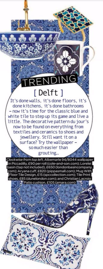 interior decorating trends 2017 Delft pattern