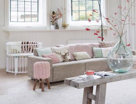 Rose quartz and gray interior design ideas