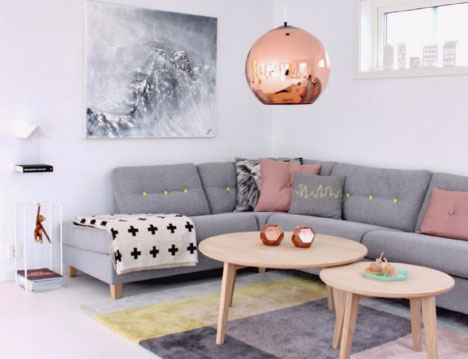 pink and grey modern living room