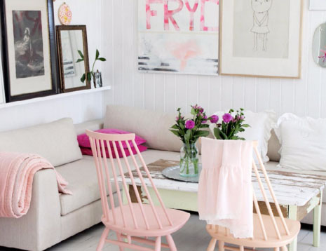 pink painted chairs dining room