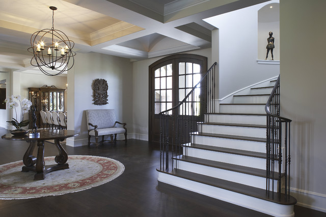 Benjamin Moore Gray Owl walls entrance foyer