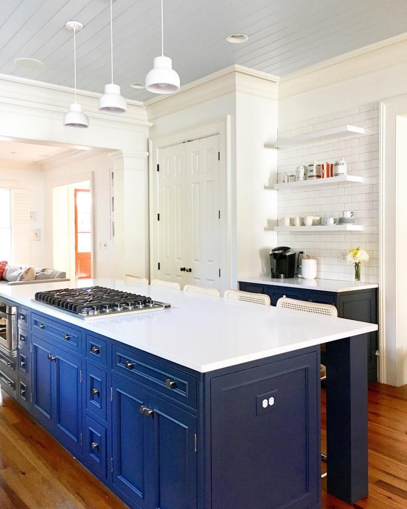 Hale Navy Benjamin Moore painted kitchen island