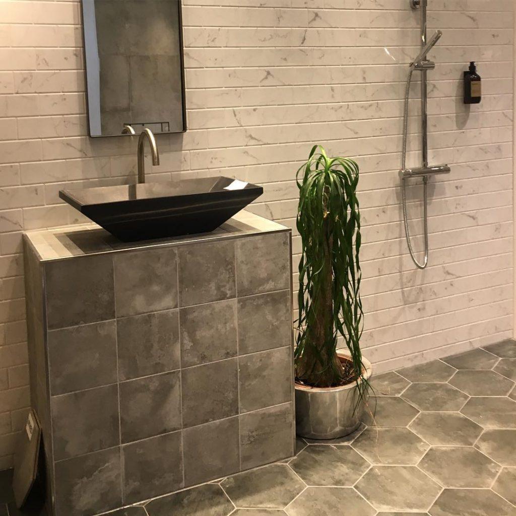 Concrete tiles in the bathroom vanity interior design ideas