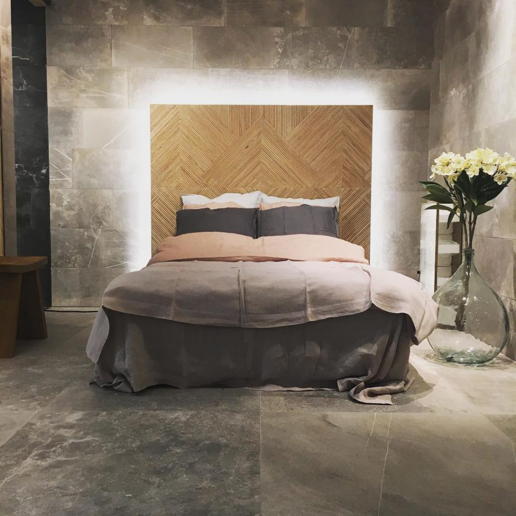 Concrete tiles in the bedroom interior design ideas