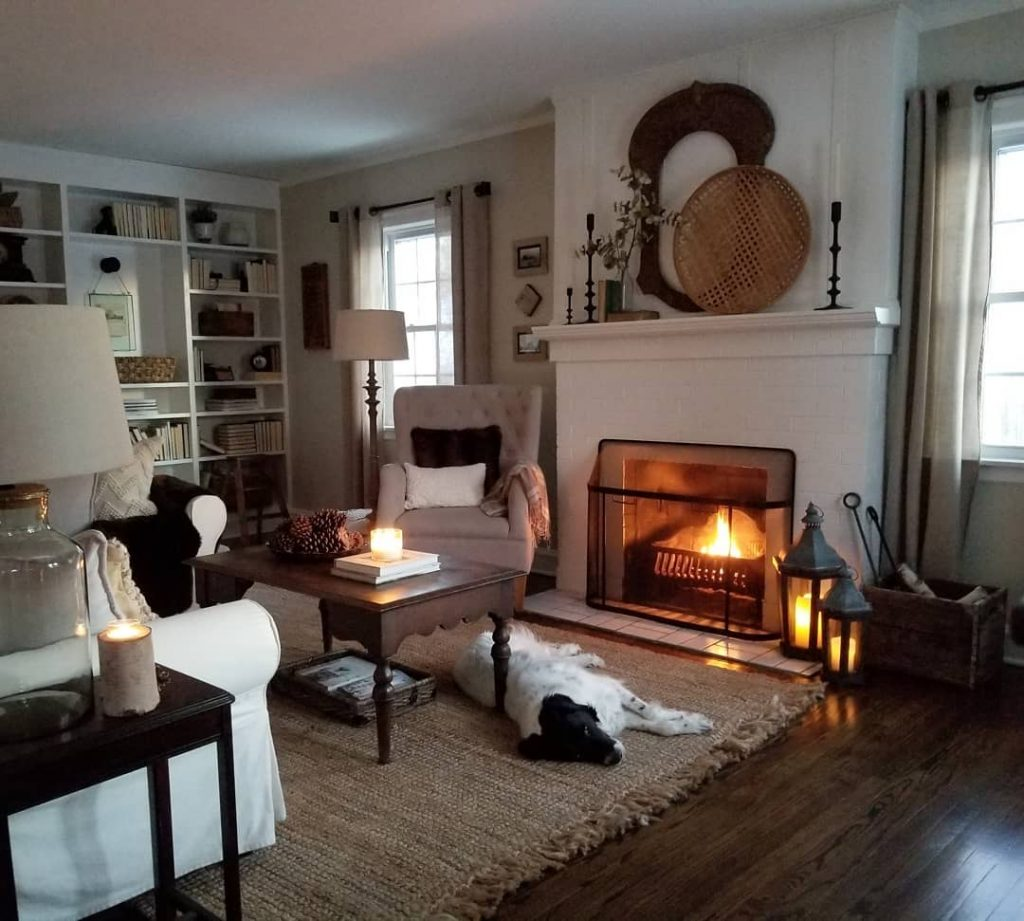 Benjamin Moore Edgecomb Gray Paint Color Scheme Living Room with Fireplace