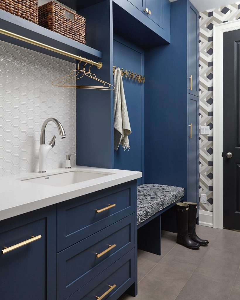Benjamin Moore Gentleman's Gray Laundry Navy Paint Color Scheme
