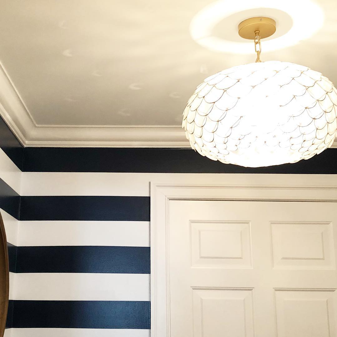 Parade Of Homes Paint Color Scheme And Tour: Benjamin Moore Old Navy Striped Walls Foyer