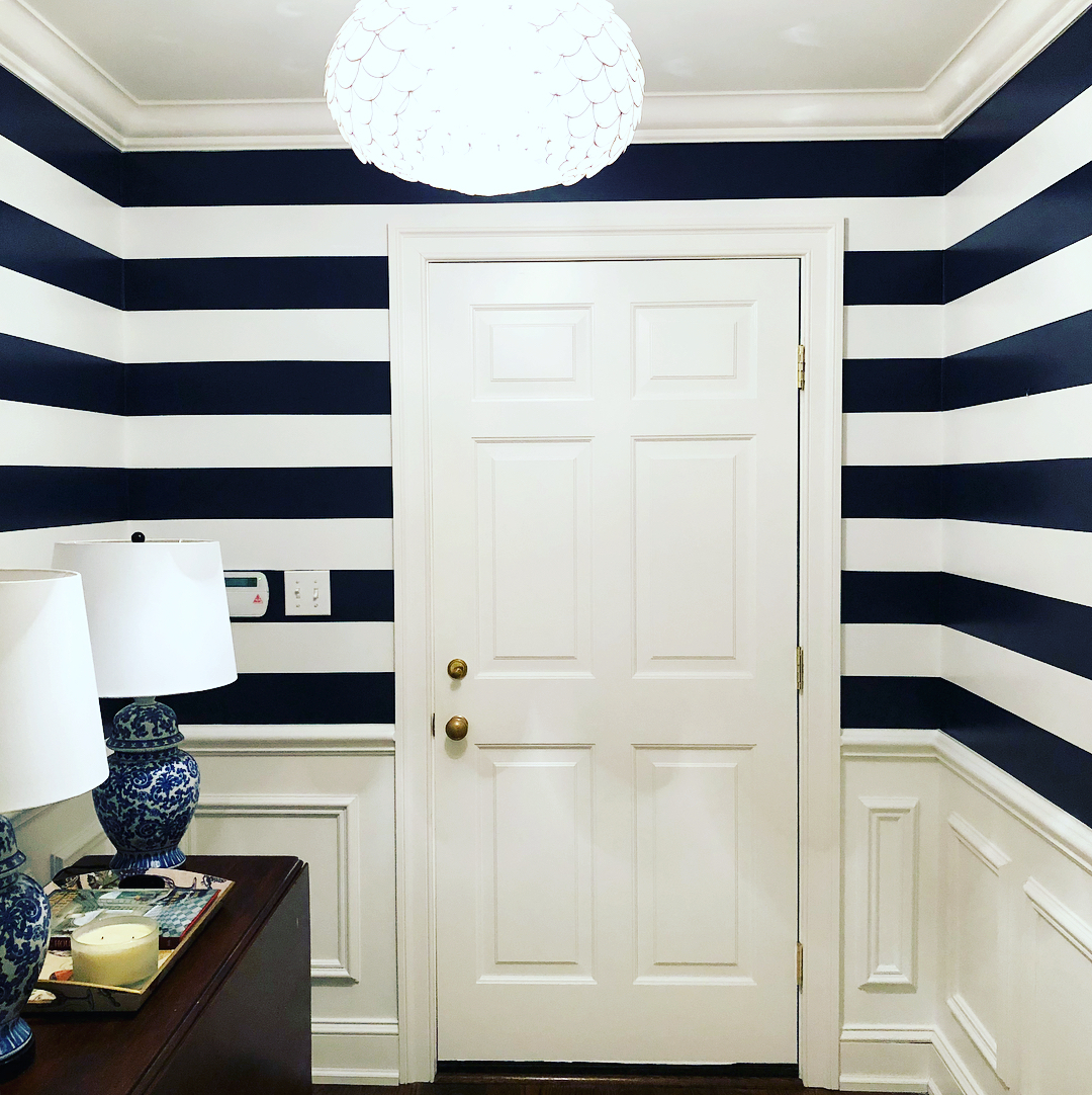 Benjamin Moore Old Navy Striped Walls Foyer Interiors By