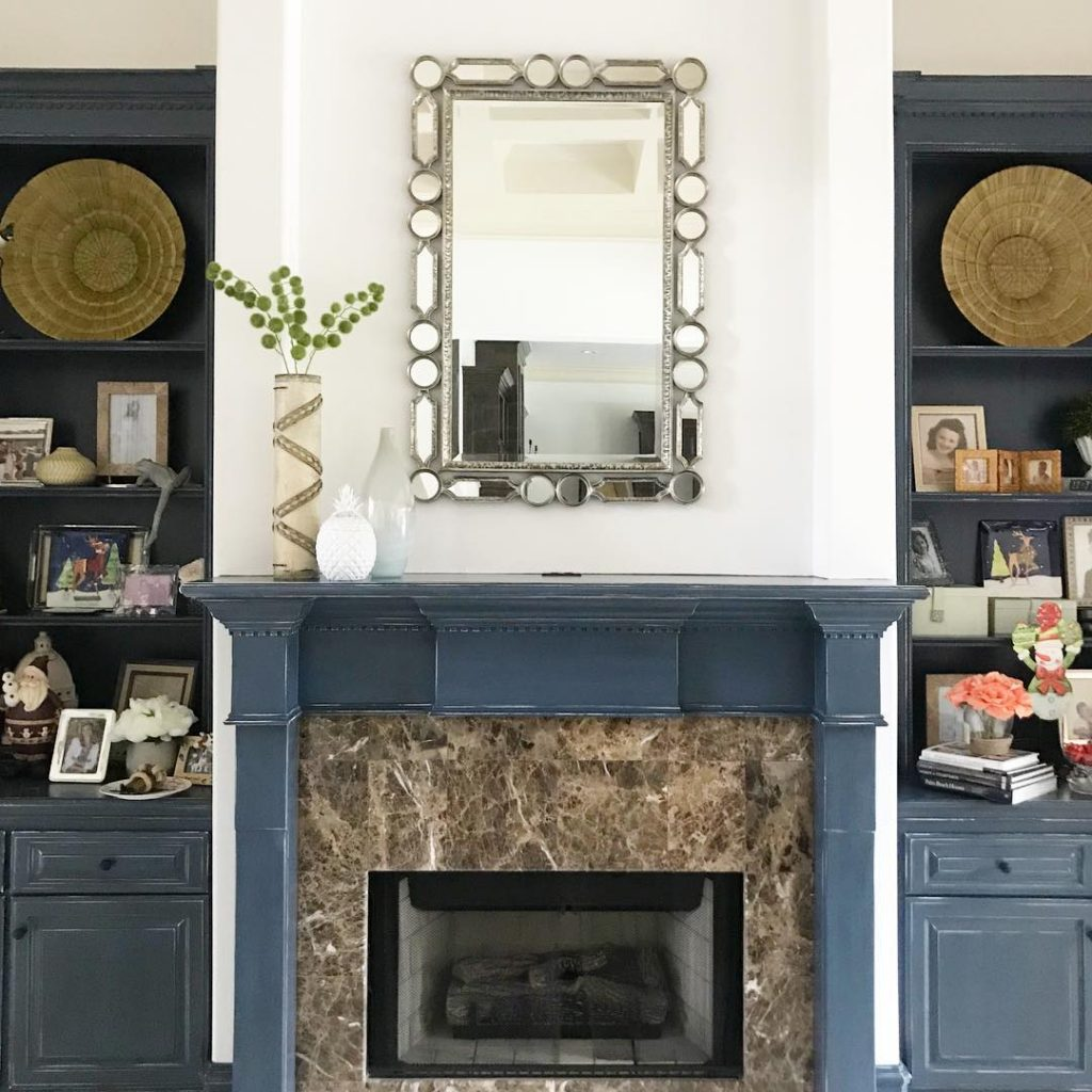 Benjamin Moore Van Deusen Blue Navy Paint Color Scheme Living Room Fireplace and Bookshelves