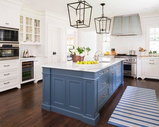 Benjamin Moore Van Deusen Blue - Navy Paint Color Schemes Kitchen Island