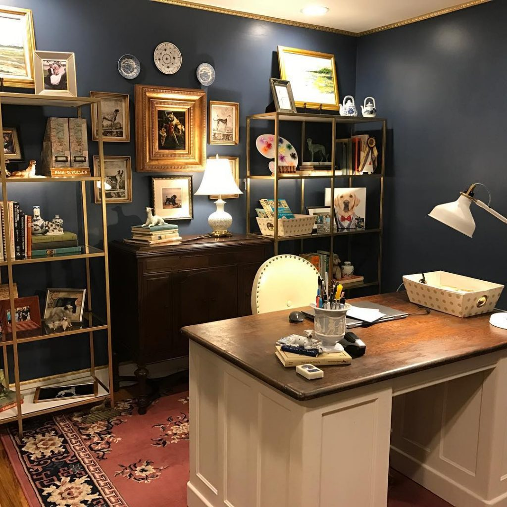 Benjamin Moore Van Deusen Blue Navy blue color scheme office walls