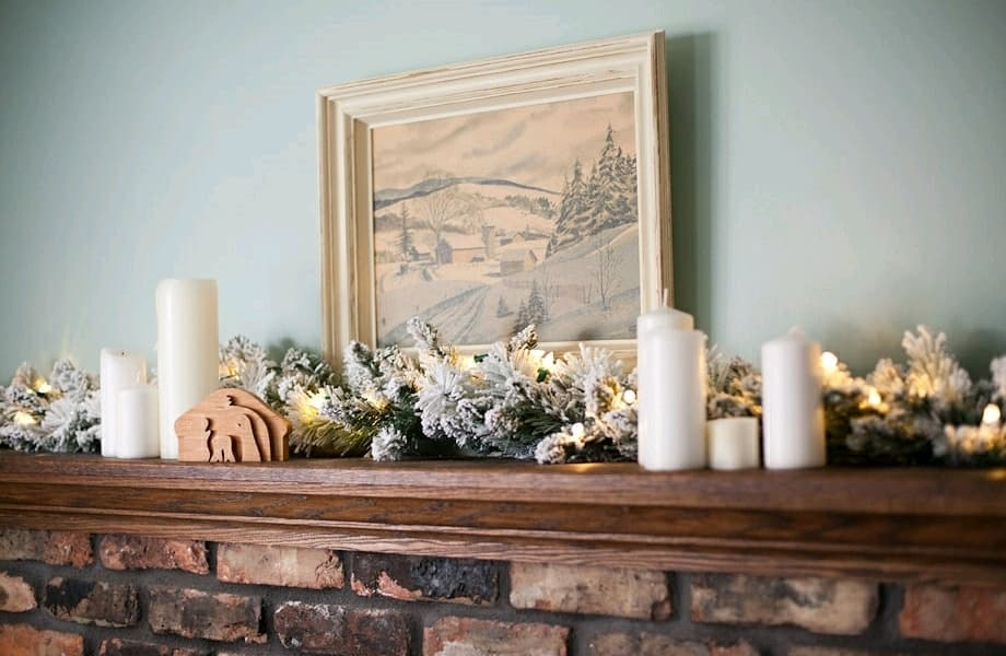 Benjamin Moore Wythe Blue Painted Mantel Wall - Click on image to see more examples of this paint color