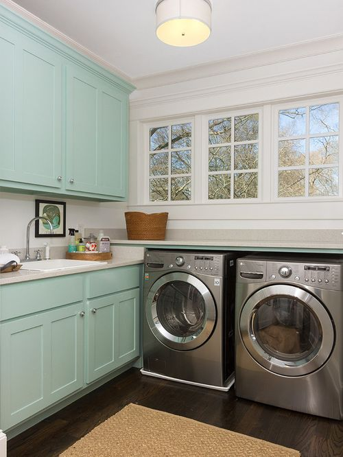 Benjamin Moore Wythe Blue Painted cabinet doors - Click on image to see more examples of this paint color.