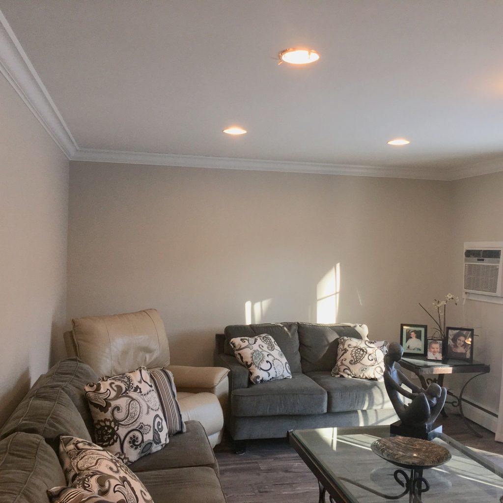 Edgecomb Gray Matte Finish by Benjamin Moore Paints Living Room