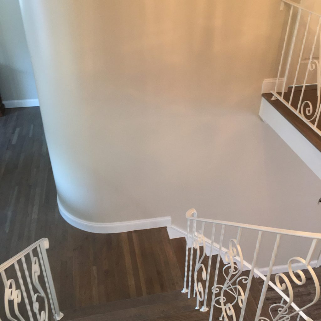 Edgecomb Gray Matte Finish by Benjamin Moore Paints Staircase