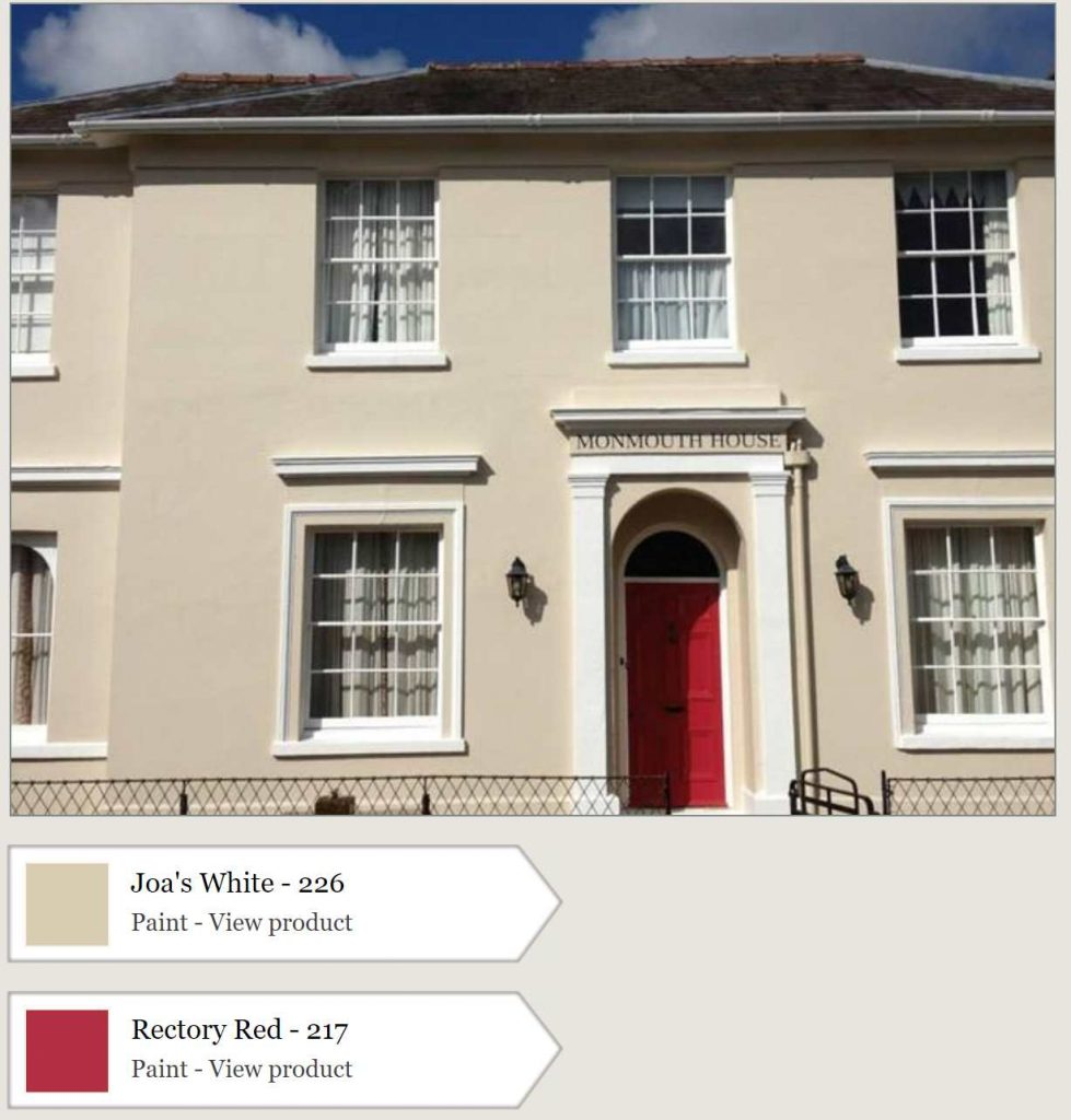 Farrow & Ball Rectory Red Door and Joa's White Painted Exterior