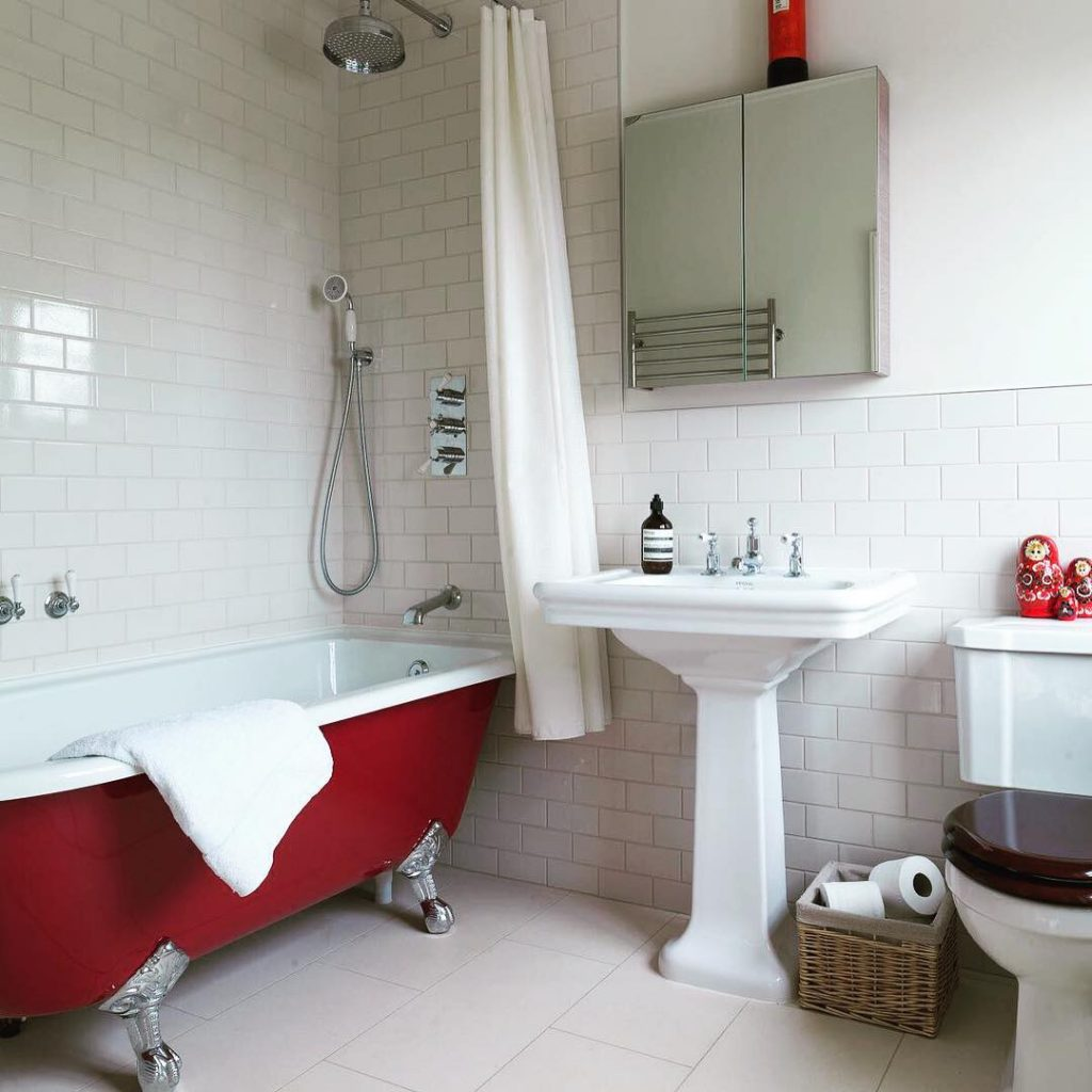 Farrow & Ball Rectory Red Painted Painted Bathtub