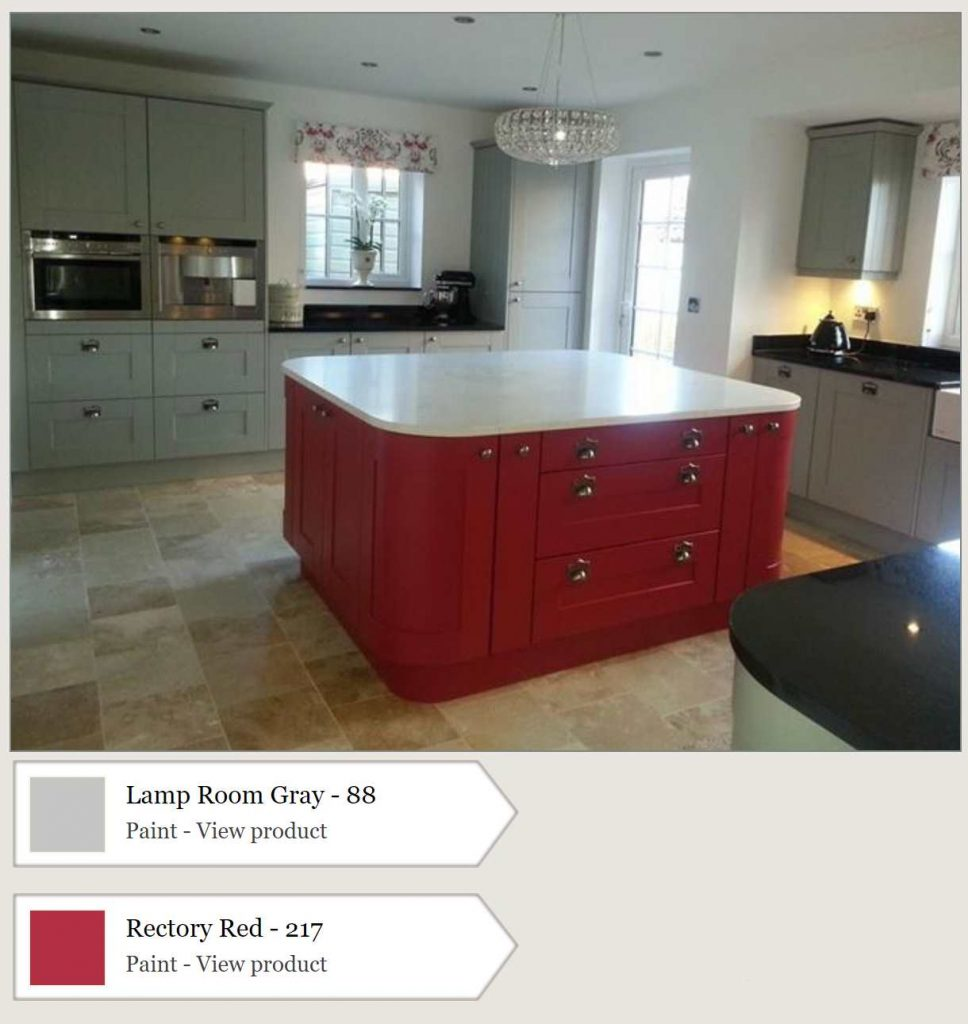 Kitchen island painted in Farrow & Ball Rectory Red. Kitchen cabinets are painted in Farrow & Ball Lamp Room Gray