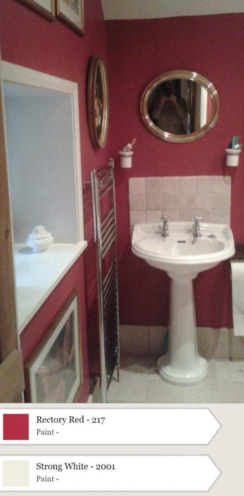 Farrow & Ball Rectory Red and Strong White Bathroom